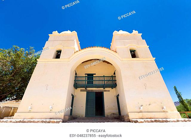 18th century Church of San Pedro in Molinos with blue sky, Calchaqui Valley, Argentina