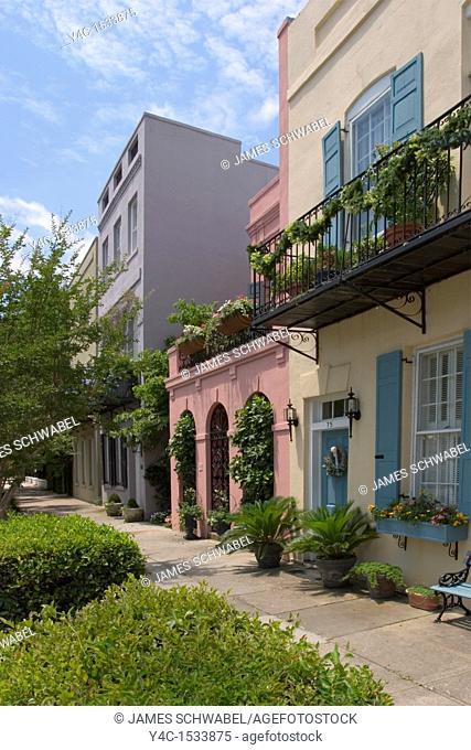 Rainbow Row houses, East Bay Street, Charleston, South Carolina