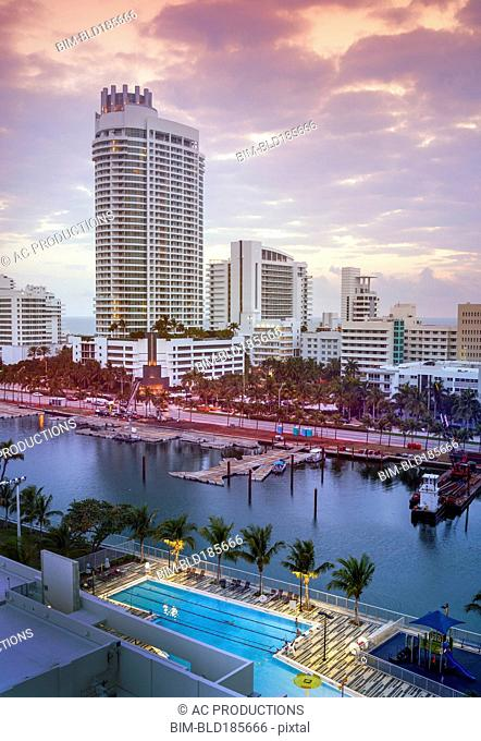 Miami Beach harbor and highrise buildings, Florida, United States