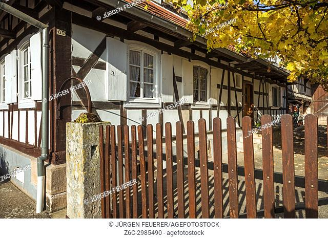 half-timbered house in Hunspach, small village in Northern Alsace, North Vosges, France, member of the most beautiful villages of France, department Bas-Rhin