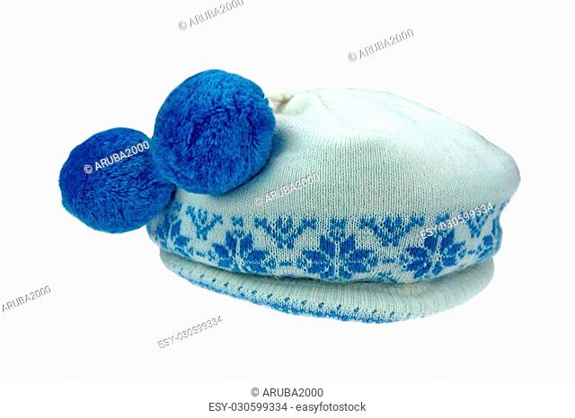 71b33a8f127 Close-up of White Knitted Winter Ski Wool Hat With Pom-Pom and Blue