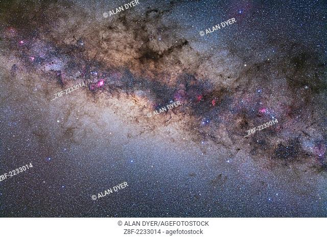 Sagittarius and Scorpius in diagonal framing, with Milky Way from Ara to Serpens. Taken with 50mm Sigma lens at f/4 and Canon 5D MkII at ISO 800 for stack of...