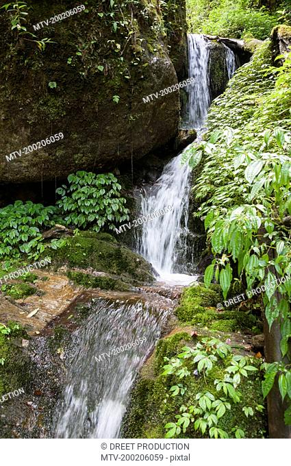 View of waterfall in annapurna conservation area, Nepal