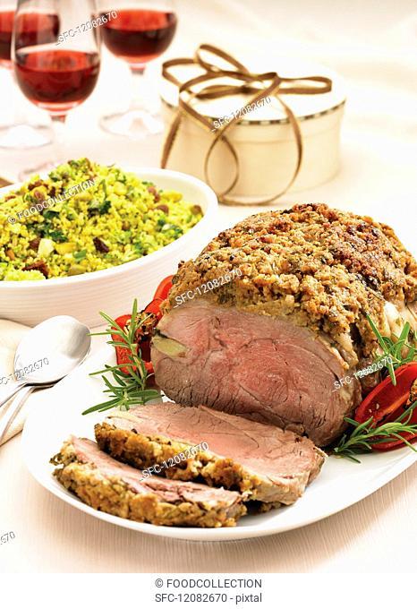 Roast lamb with a rosemary & mustard crust