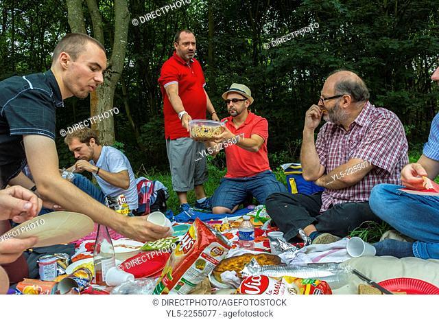 Paris, France, Crowd of LGBT NGO's, sharing Lunch Picnic in Parc de VIncennes