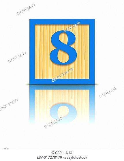 Vector number 8 wooden block