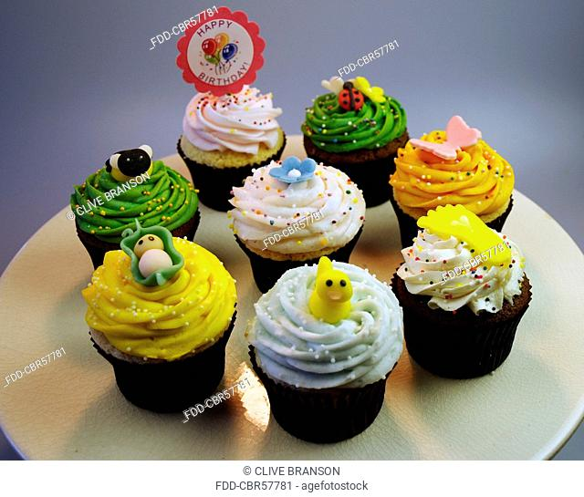 Birthday Cupcakes With Various Decorations
