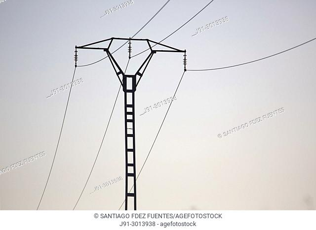 Electricity pylon, Madrid province, Spain