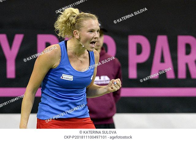 Czech tennis player Katerina Siniakova in action against US tennis player Alison Riske (not seen) within the 2018 Fed Cup final match between Czech Republic and...