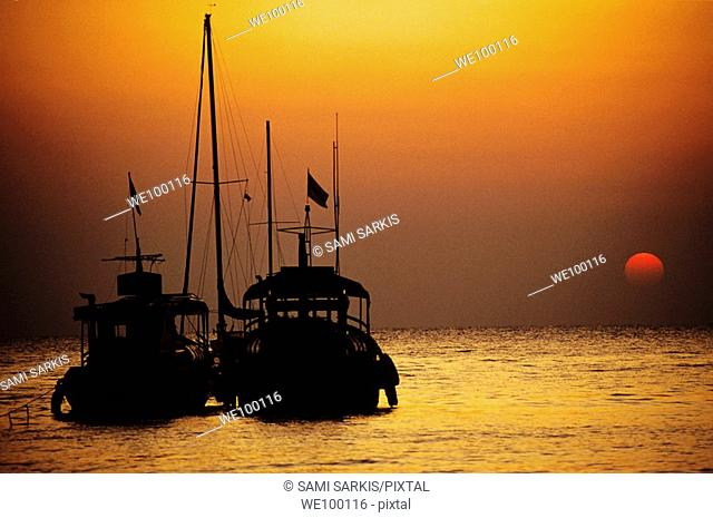 Fishing boats together at sunset, Koh Samet Island, Thailand