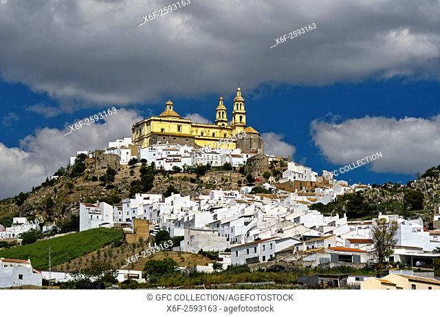 The White Town, Pueblo Blanco, Olvera with the parish church of Our Lady of the Incarnation, Parroquia de Nuestra Señora de la Encarnación, Olvera