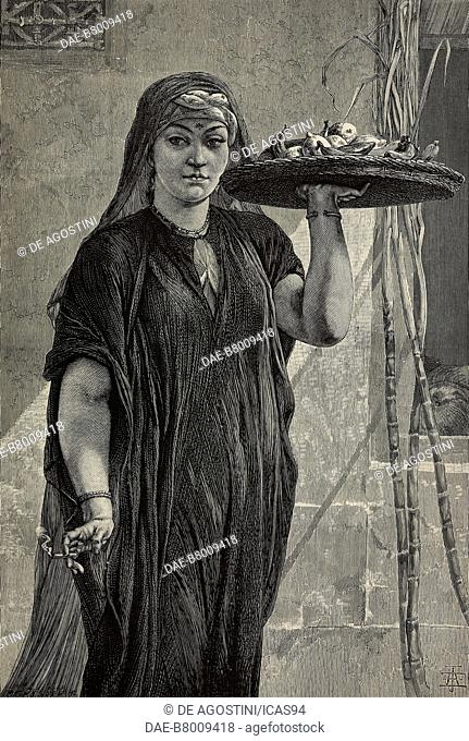 A fruit woman of Cairo, engraving after a painting by Frederick Goodall, from The Illustrated London News, No 1868, May 29, 1875