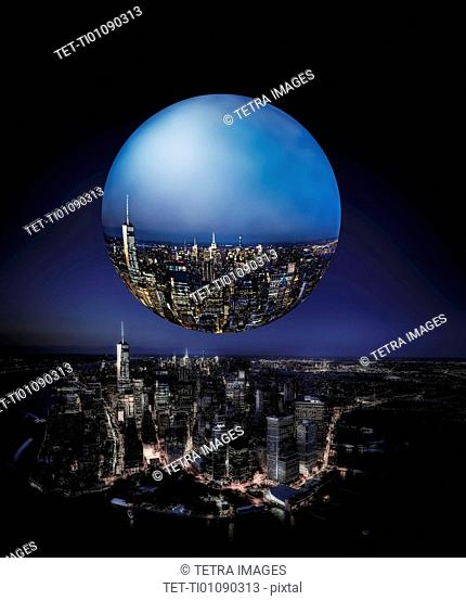 Large bubble over city reflection