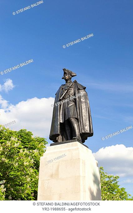 Statue of major general James Wolfe in Greenwich, London, UK