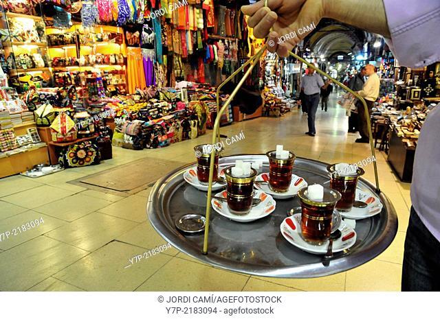 Tea seller. Grand Bazaar. Istanbul. Turkey