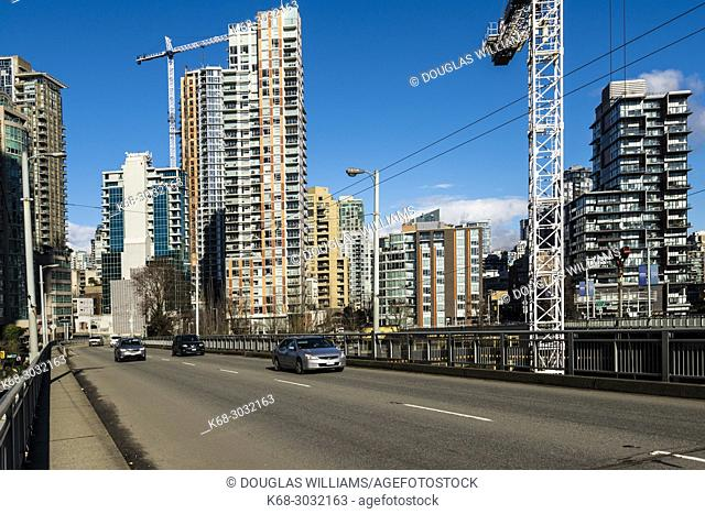 Granville Street bridge in Vancouver, BC, looking toward the downtown. Canada