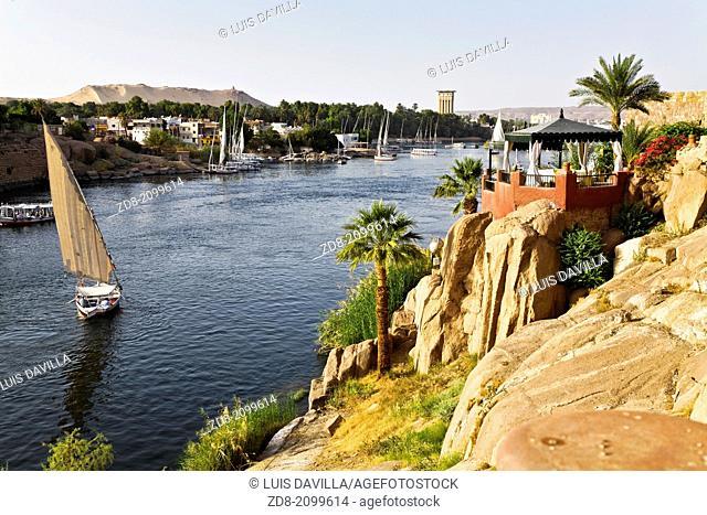 elenphantina island and nile river from old cataract hotel. asuan