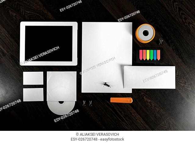 Corporate identity template on wooden background. Top view