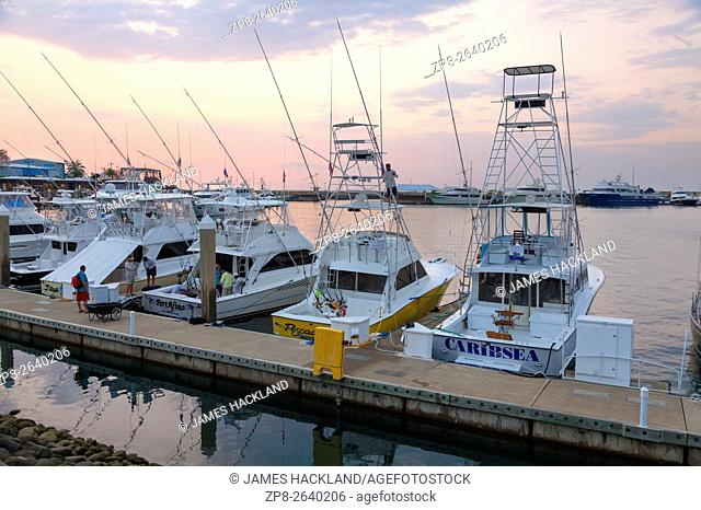 Fishing boats and yachts at the Marina Pez Vela in Quepos, Puntarenas Province, Costa Rica