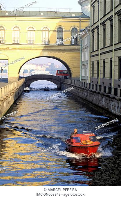 Russia, St Petersburg, motorboat on the Fontanka river