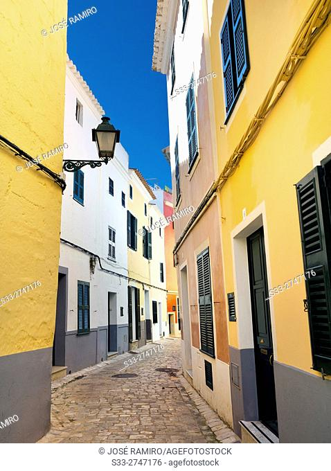 Alley in Ciutadella. Menorca. Islas Baleares. Spain. Europe