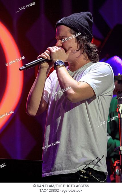 Lukas Forchhammer of Lukas Graham performs in concert during the 106.1 KISS FM's Jingle Ball 2016 Presented by Capital One at American Airlines Center on...