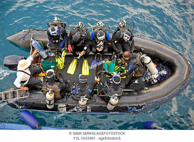 Group of divers in a inflatable raft aerial view, Galapagos Islands, Ecuador