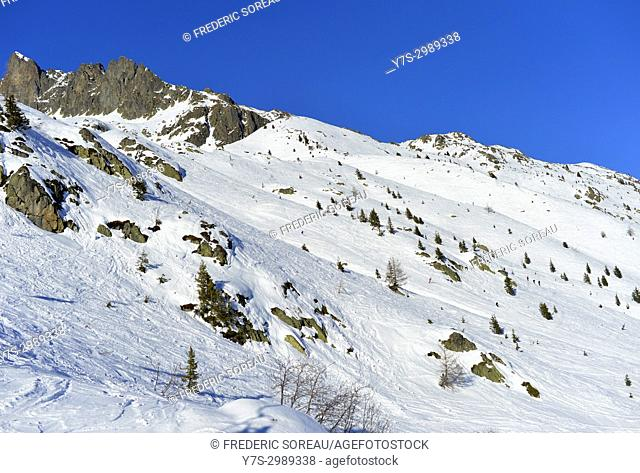 Brevant ski area, Chamonix Valley Mont Blanc,French Alps,Haute Savoie,France,Europe