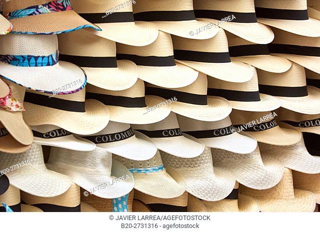 Colombia, Bolivar, Cartagena de Indias, Panama hats on market stall