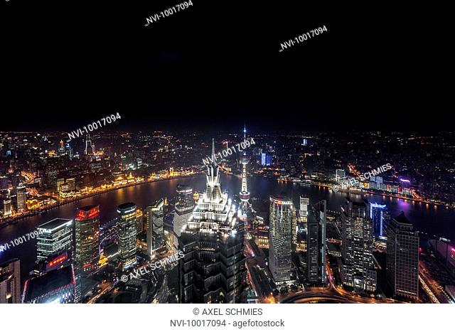 View of Lujiazui from the SWFC Tower, Lujiazui, Pudong, Shanghai, China