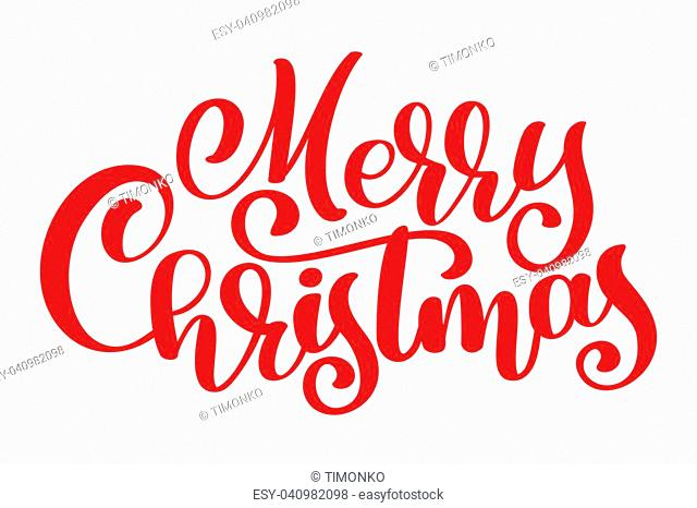 red text Merry Christmas hand written calligraphy lettering. handmade vector illustration. Fun brush ink typography for photo overlays, t-shirt print, flyer