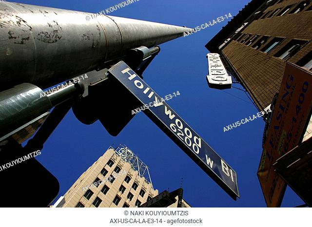 Hollywood Boulevard sign and buildings