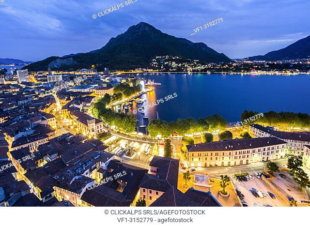 Overview of Lecco from the bell tower and Monte Barro in the background, Lecco, Lecco province, Lombardy, italy