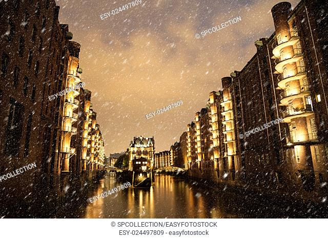 Speicherstadt in Hamburg in Winter