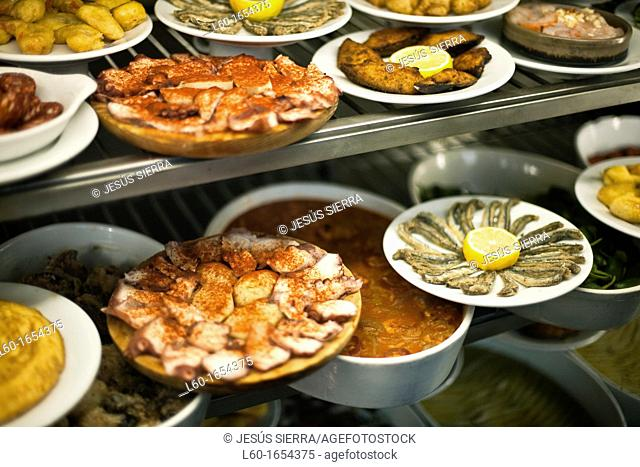 'Tapas' in Restaurant, Plaza Mayor, Madrid, Spain
