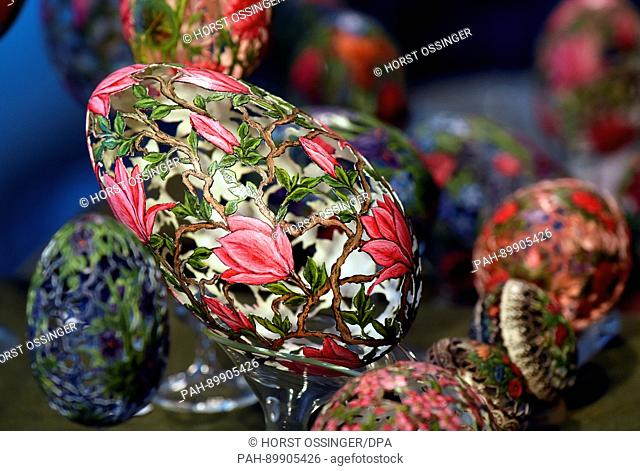 """Ornately decorated goose eggs by the artisan S.Rossler on display at the Easter Egg Market in Zons, which was held under the motto """"""""Art on Easter Eggs"""""""" in..."""