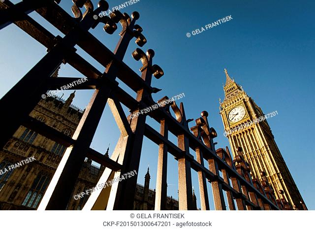 The Palace of Westminster with Big Ben clock tower - the meeting place of the House of Commons and the House of Lords of the Parliament of the United Kingdom -...