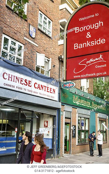 United Kingdom Great Britain England, London, Southwark, Bankside, Waterloo Road, neighborhood business, Chinese Canteen, restaurant, take-away, man, woman