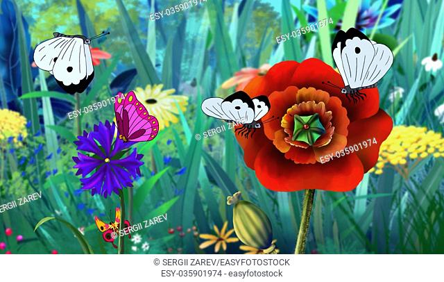 White Butterfly Flew on a Flower. Digital painting cartoon style full color illustration