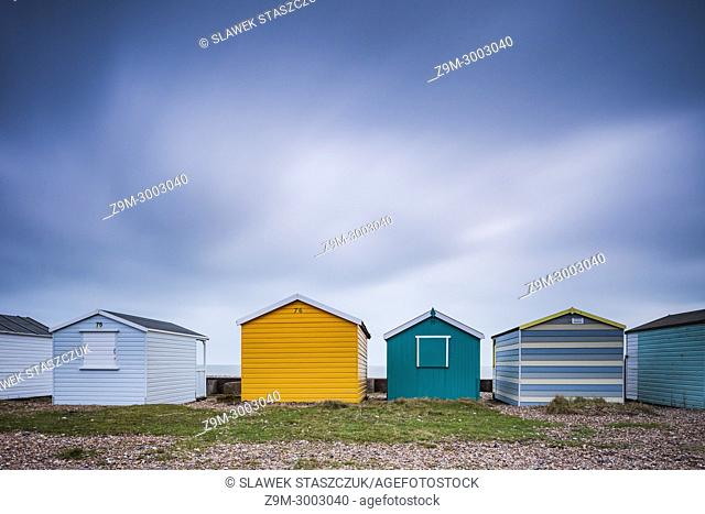 Beach huts in Shoreham-by-Sea, West Sussex, England