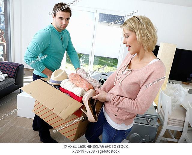 youg couple moving