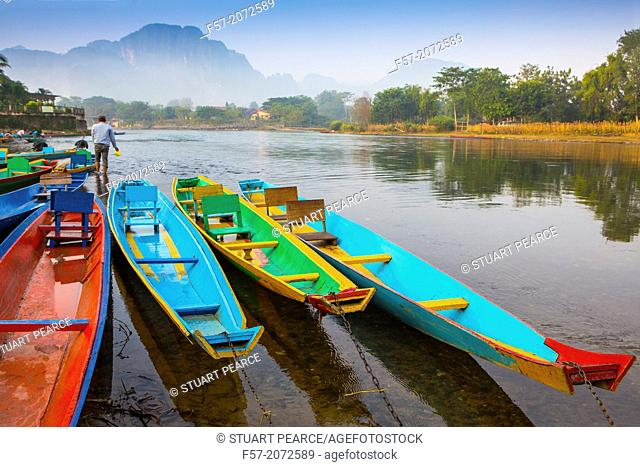 Dawn over the Nam Song River in Vang Vieng, Laos