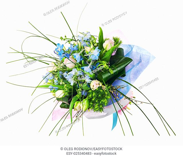 Flower bouquet from pink roses, iris and other flowers arrangement centerpiece isolated on white background