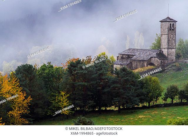 Gothic church, meadows and forest in autumn. Fanlo, Huesca, Aragon, Spain, Europe