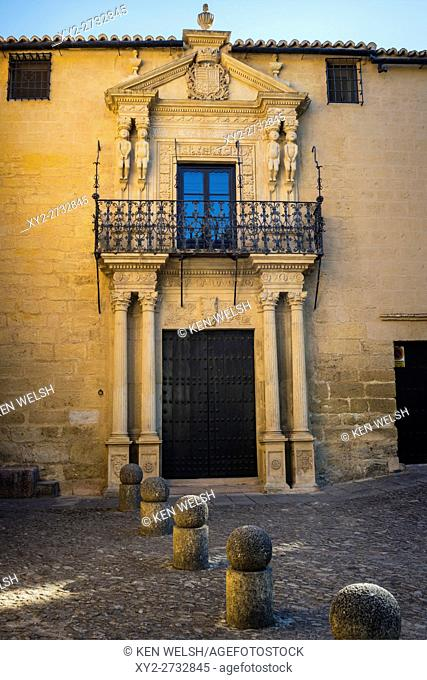 Ronda, Malaga Province, Andalusia, southern Spain. Facade of the Palace of the Marquis of Salvatierra with paired figures in pre-Columbian style