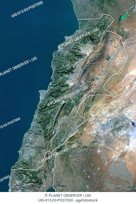 Satellite view of Lebanon (with country boundaries). This image was compiled from data acquired by Landsat 8 satellite in 2014