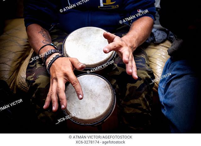 musician playing Bongo drums
