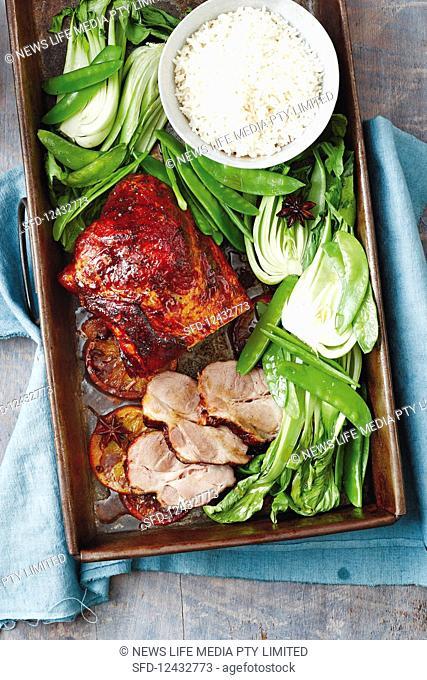 One pan treacle and orange roast pork (Asia)