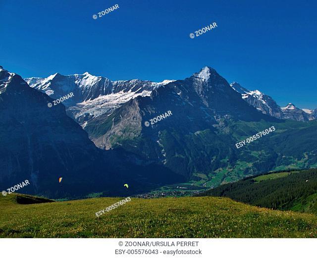 Eiger And Paragliders, Grindelwald