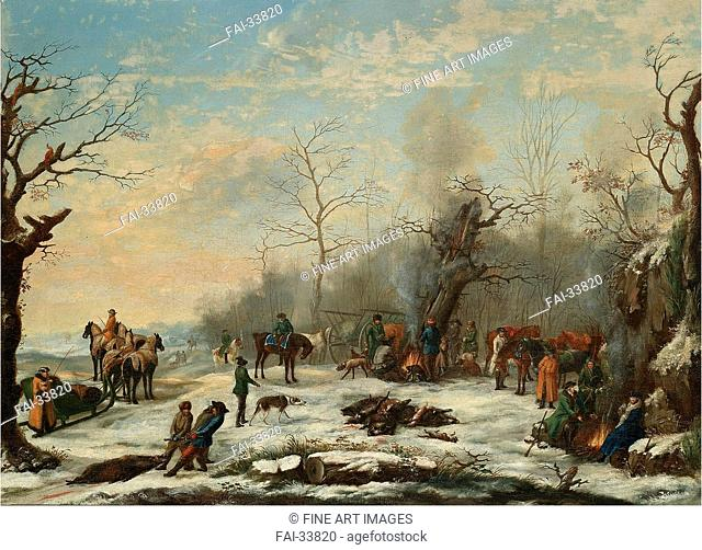 Winter Hunt by Anonymous /Oil on canvas/Russian Painting of 19th cen./Mid of the 19th cen./Russia/Private Collection/57x78/Genre/Painting/Die Winterjagd von...